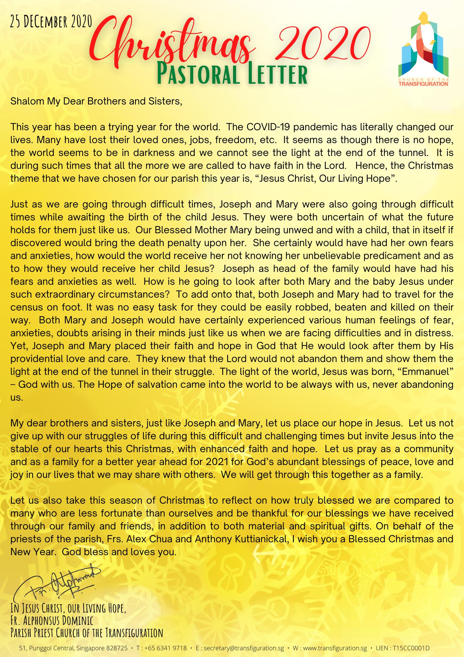 Christmas 2020 Pastoral Letter