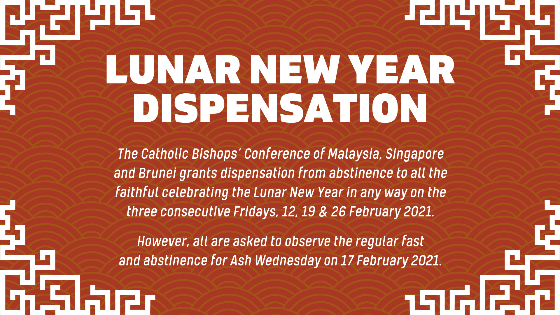 CNY Dispensation Message