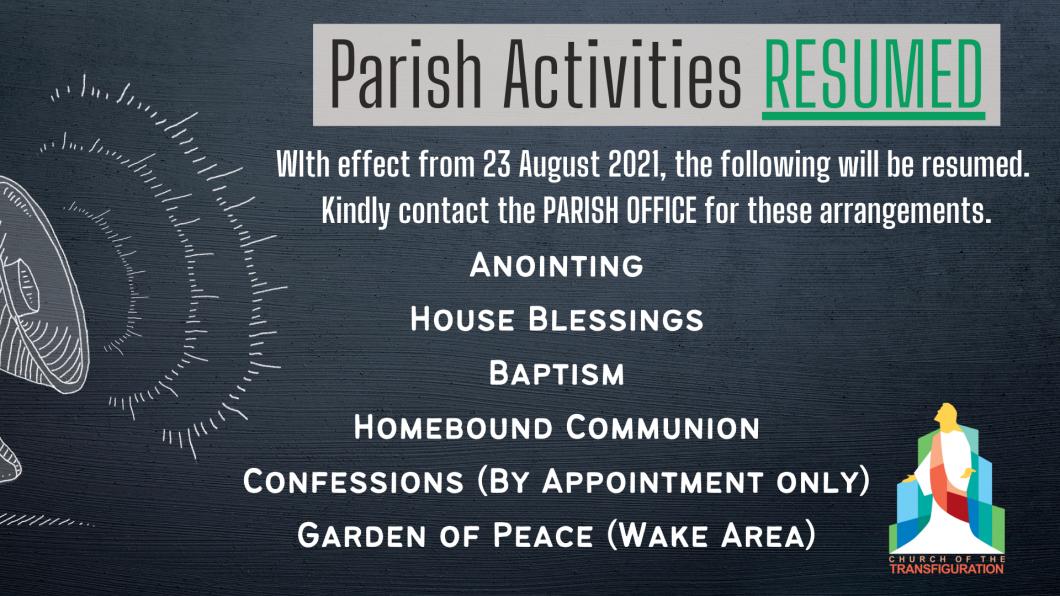 Resumption of Activities (23Aug)